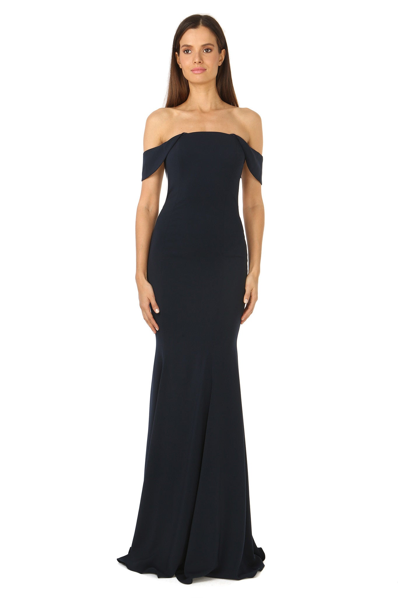 Jay Godfrey Off-the-Shoulder Navy Gown - Front View