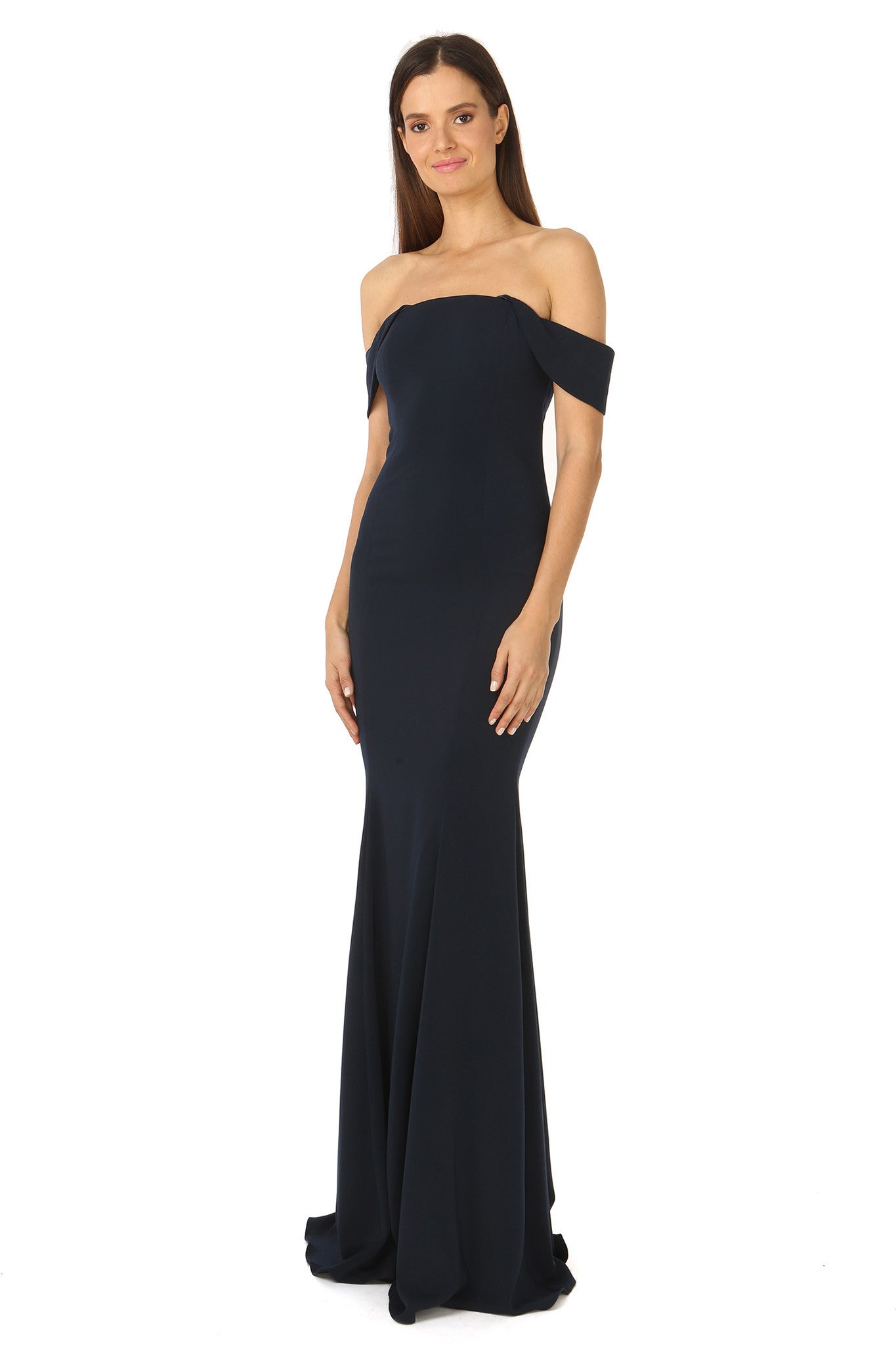 Jay Godfrey Off-the-Shoulder Navy Gown - Side View