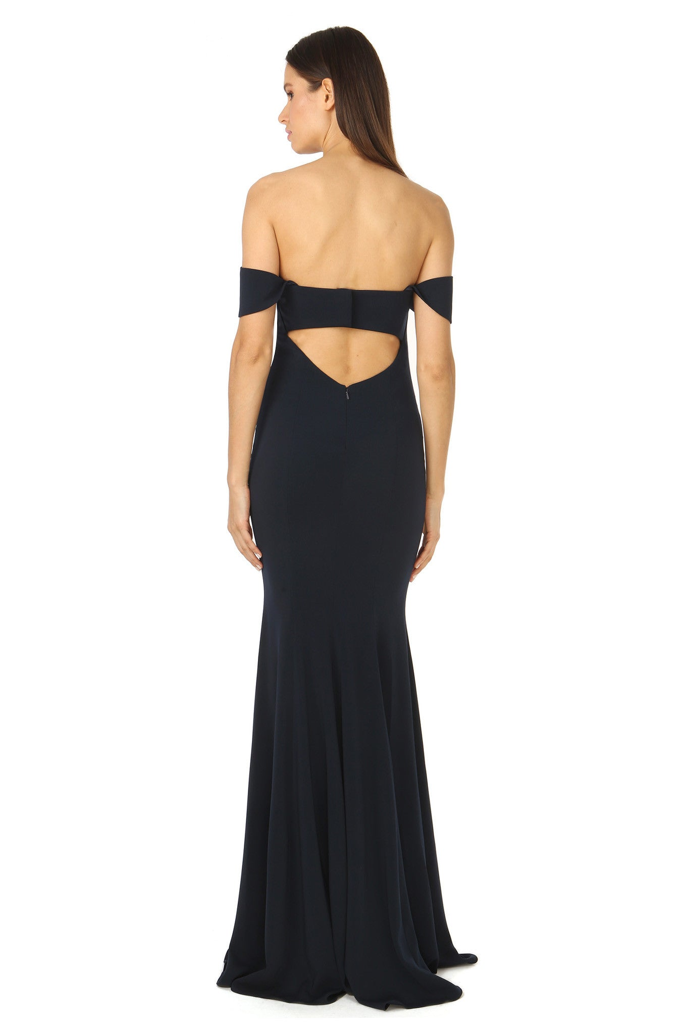 Jay Godfrey Off-the-Shoulder Navy Gown - Back View