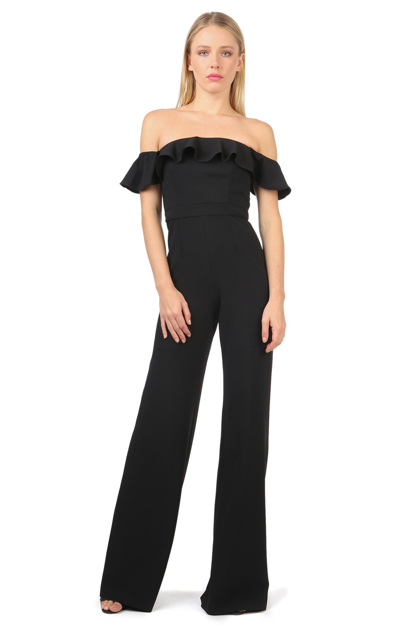 Jay Godfrey Ruffle Off the Shoulder Jumpsuit - Front View