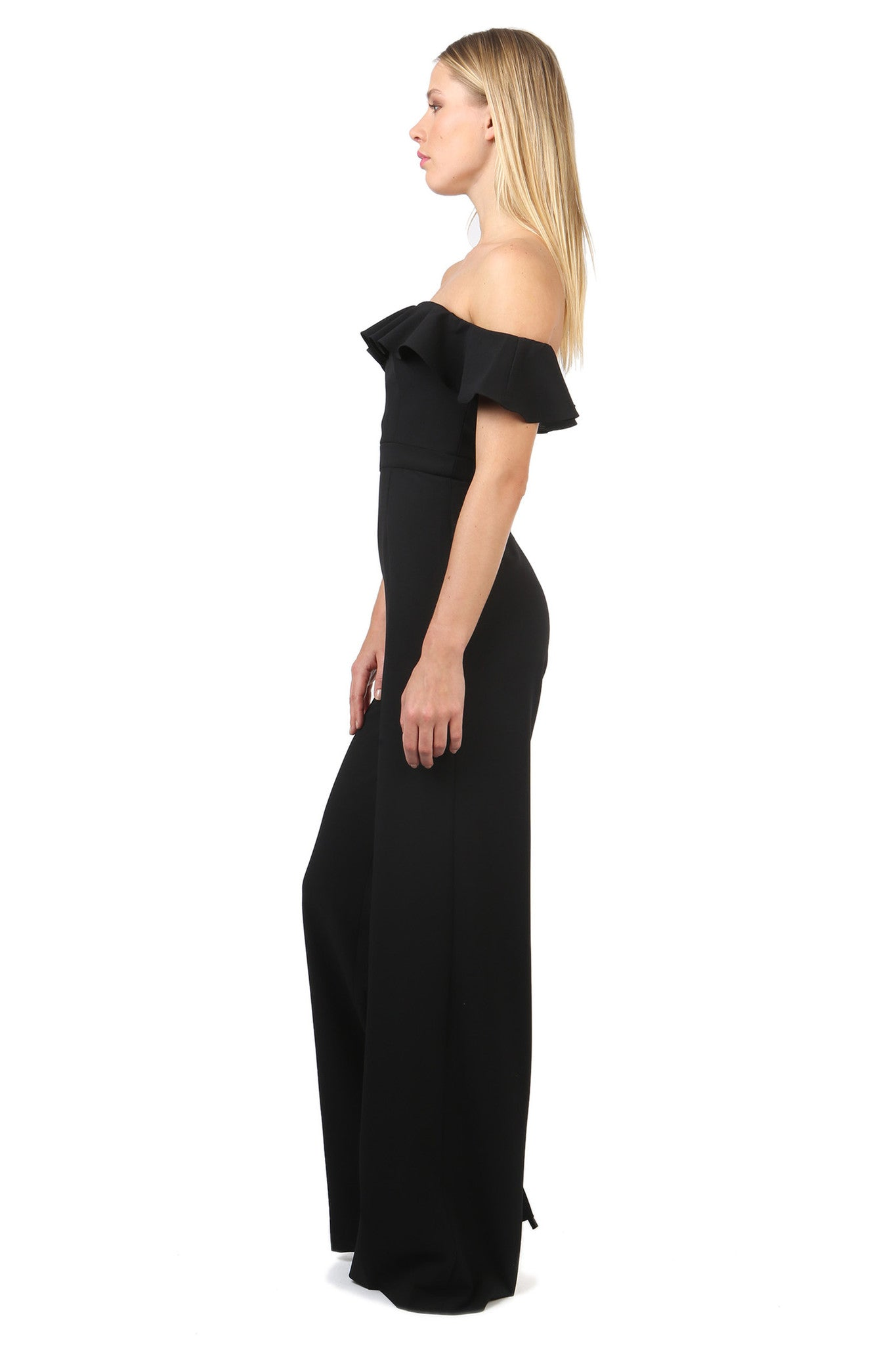 Jay Godfrey Ruffle Off the Shoulder Jumpsuit - Side View