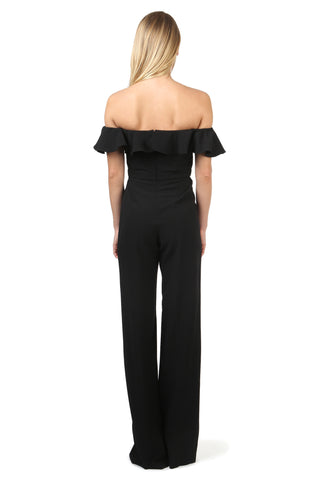 BIONDI BLACK OFF-THE-SHOULDER RUFFLE JUMPSUIT