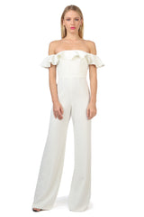 Jay Godfrey Ivory Off-the-Shoulder Jumpsuit - Front View