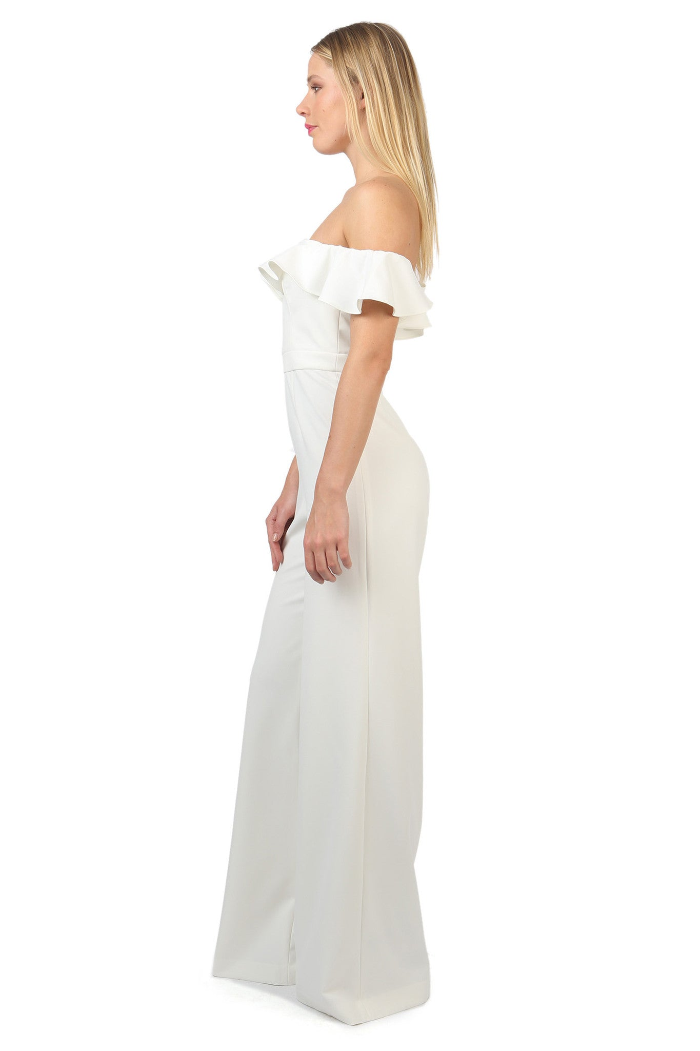 Jay Godfrey Ivory Off-the-Shoulder Jumpsuit - Side View