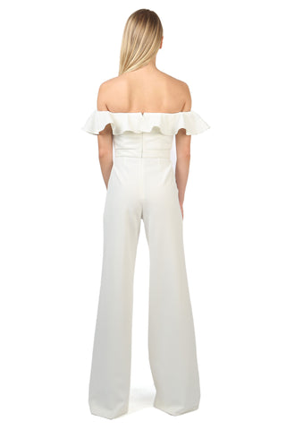 BIONDI LIGHT IVORY OFF-THE-SHOULDER RUFFLE JUMPSUIT