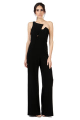 Jay Godfrey Black One-Shoulder Jumpsuit - Front View