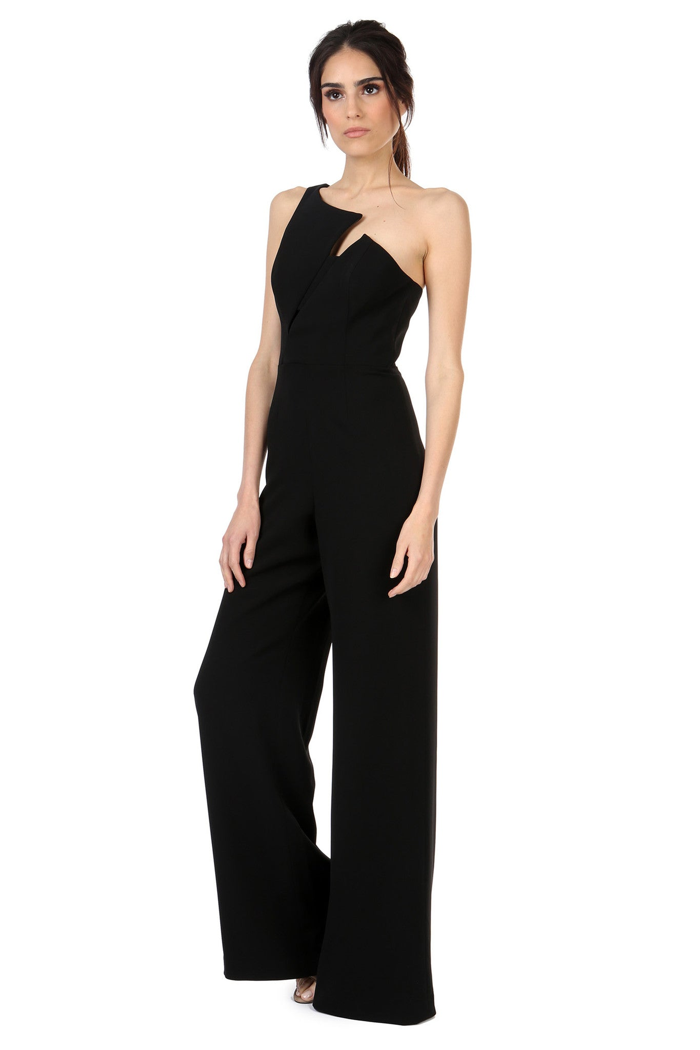 Jay Godfrey Black One-Shoulder Jumpsuit - Side View
