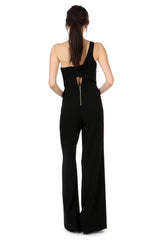 Jay Godfrey Black One-Shoulder Jumpsuit - Back View
