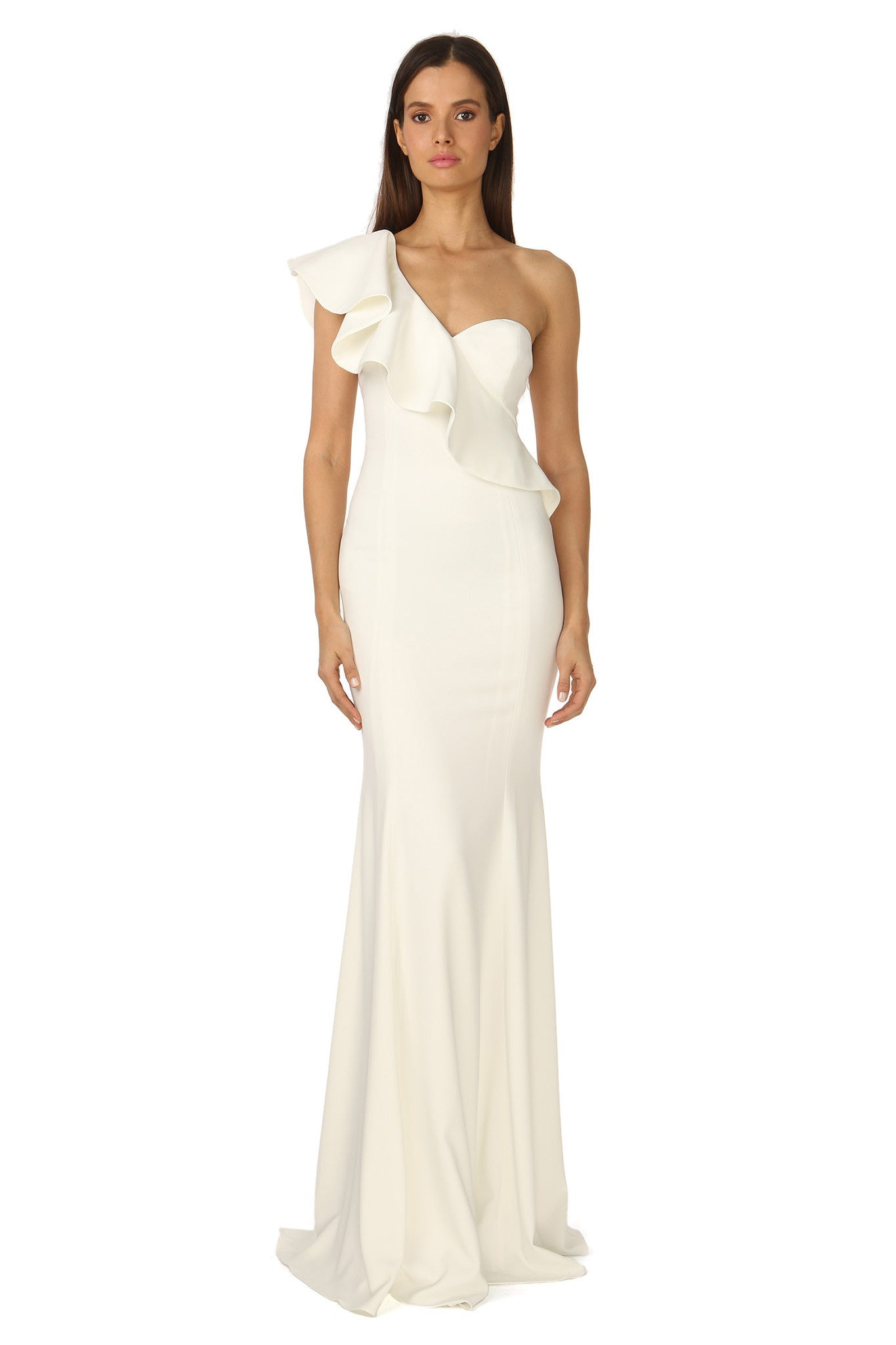 Jay Godfrey Ivory One-Shoulder Ruffle Gown - Front View