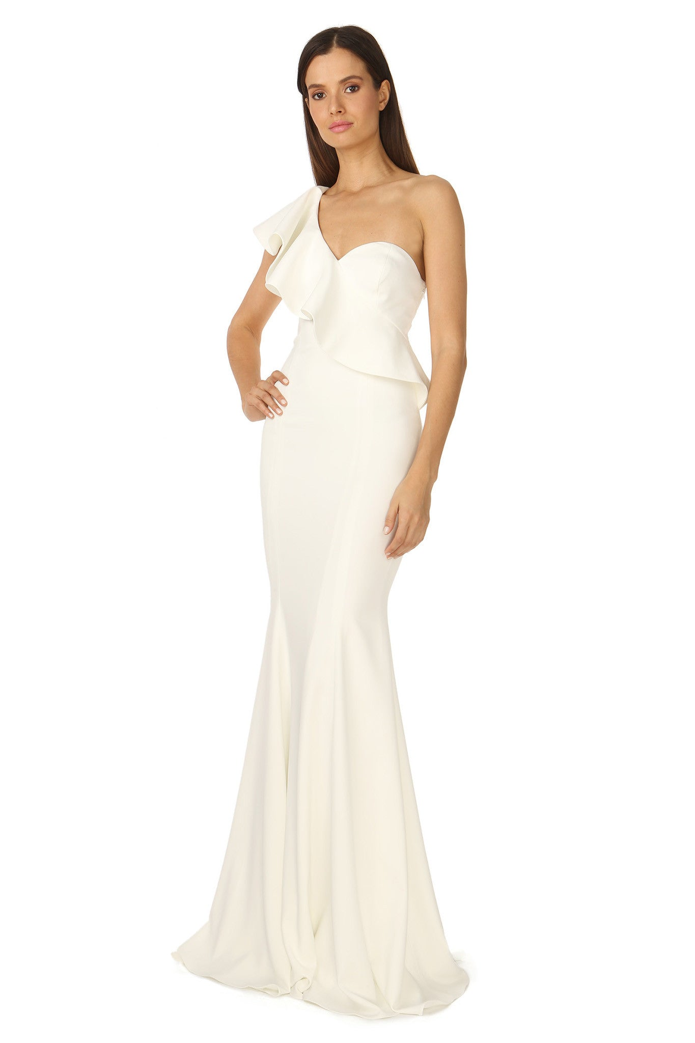 Jay Godfrey Ivory One-Shoulder Ruffle Gown - Side View