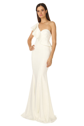 BOLT LIGHT IVORY RUFFLE ONE-SHOULDER GOWN