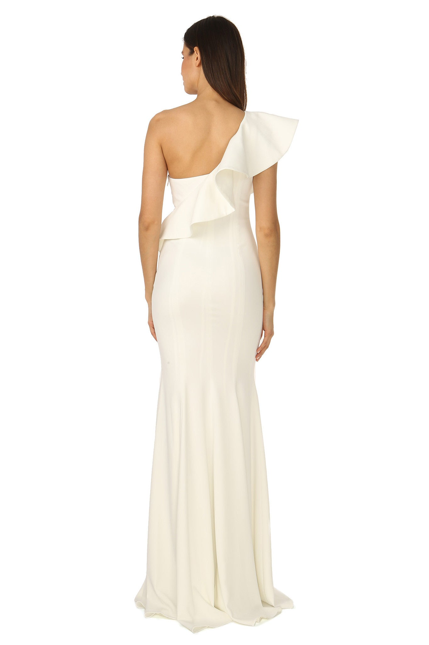 Jay Godfrey Ivory One-Shoulder Ruffle Gown - Back View