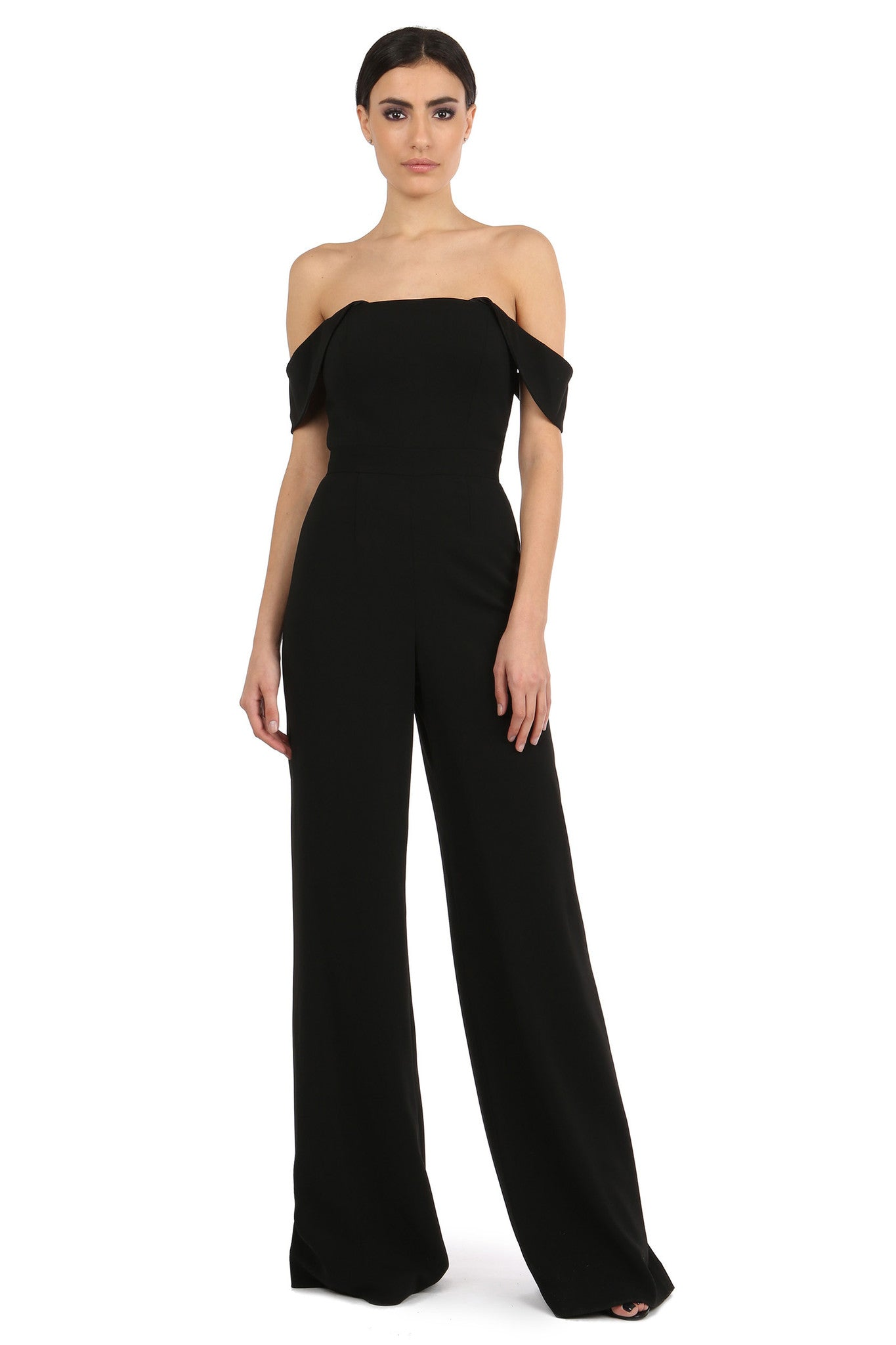 Jay Godfrey Black Off-the-Shoulder Romper - Front View