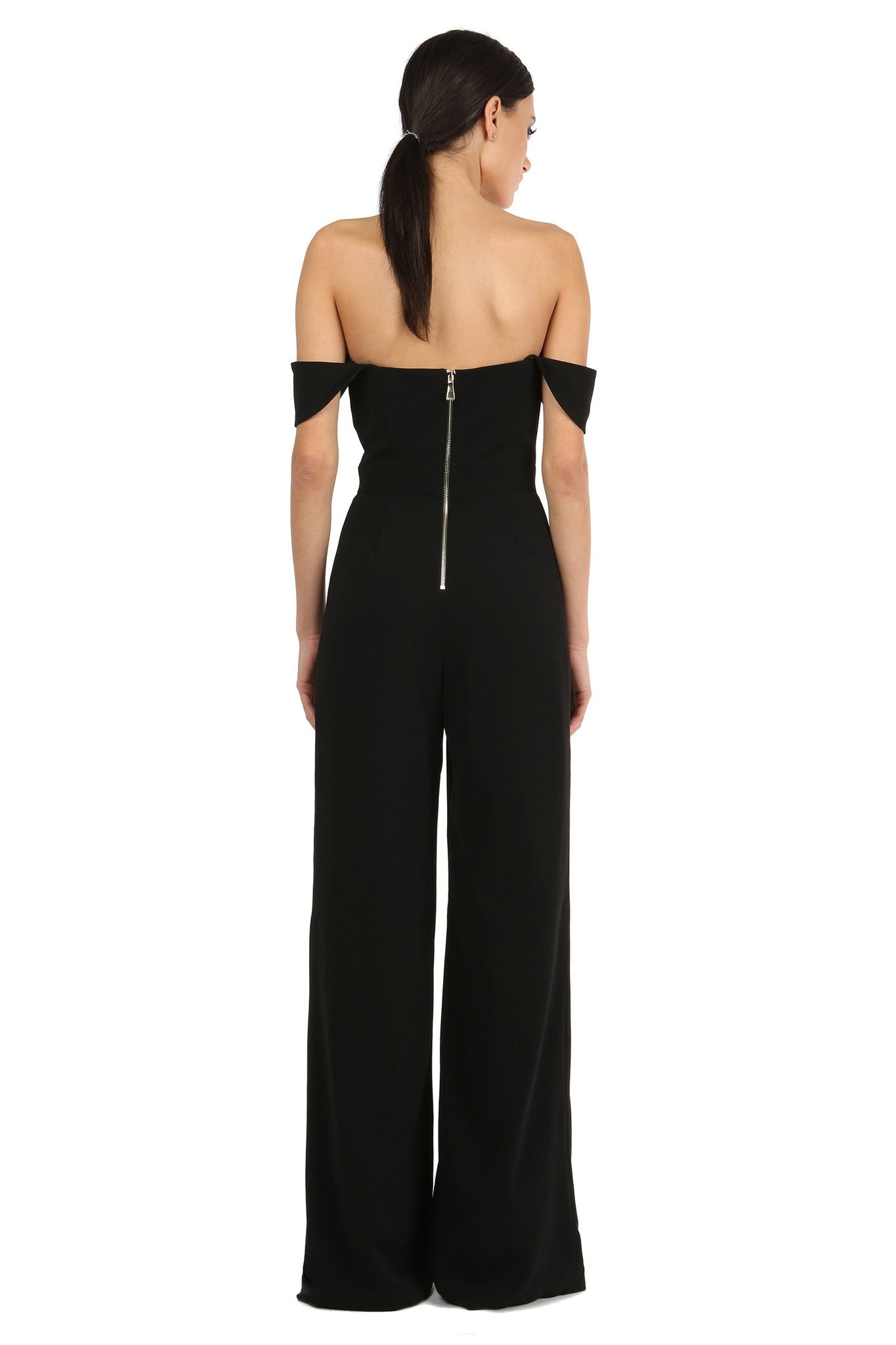Jay Godfrey Black Off-the-Shoulder Romper - Back View