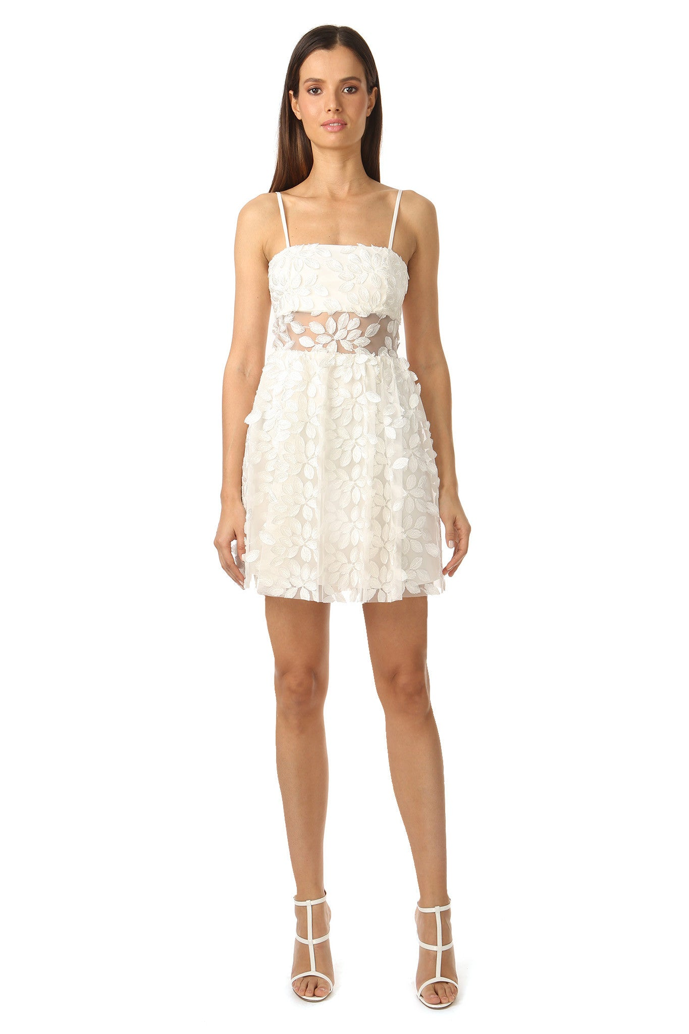 Jay Godfrey White Floral Embroidery Dress - Front View