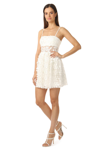 BROMELL WHITE FLORAL EMBROIDERED MINI DRESS
