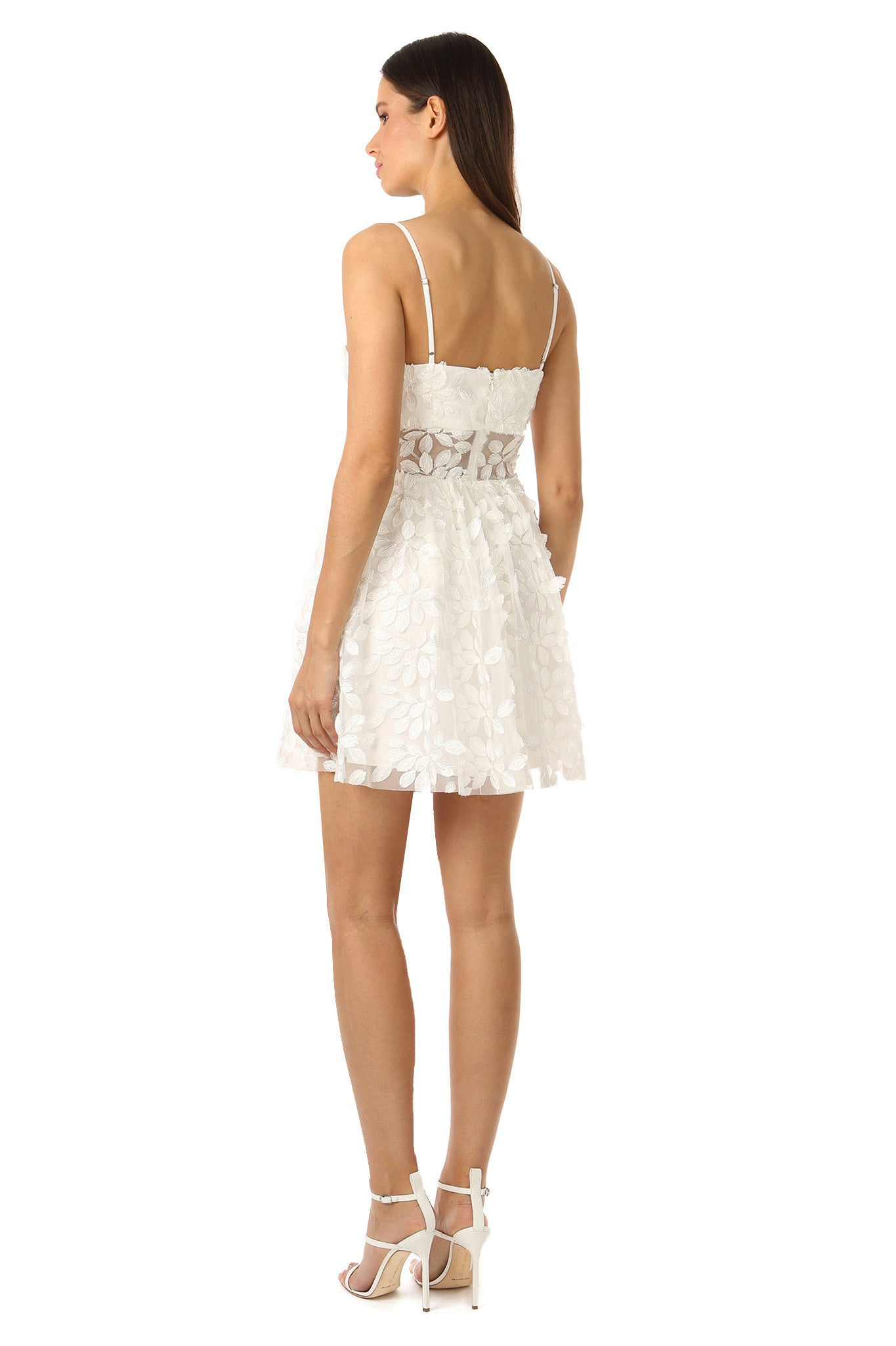 Jay Godfrey White Floral Embroidery Dress - Back View