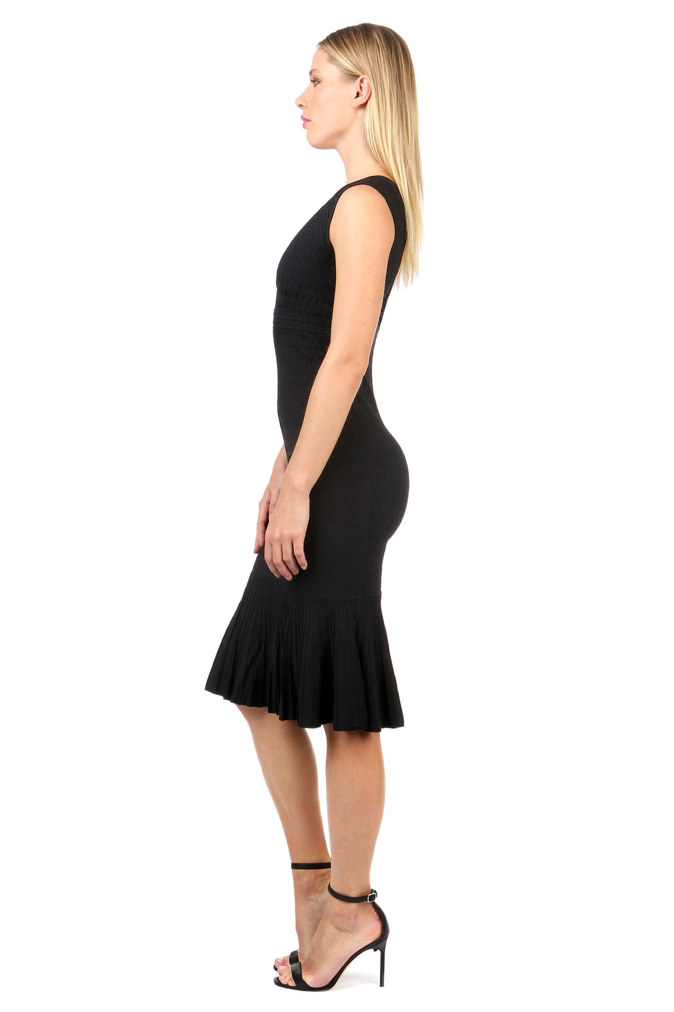 Jay Godfrey Black Body-Con Knit Dress - Side View