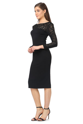 BURRELL BLACK LONG-SLEEVE MIDI DRESS