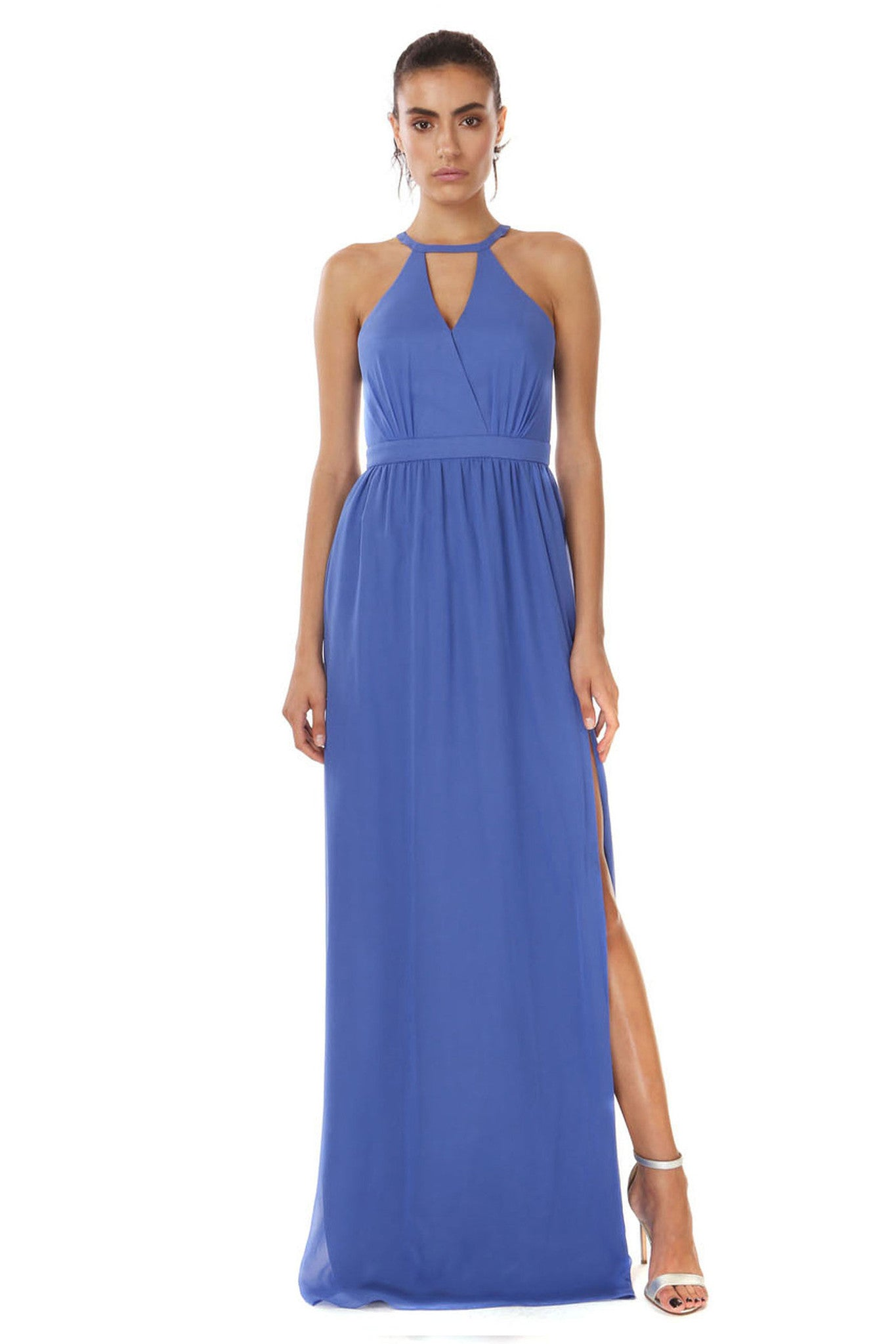 Jay Godfrey Marina Blue Grecian Gown - Front View
