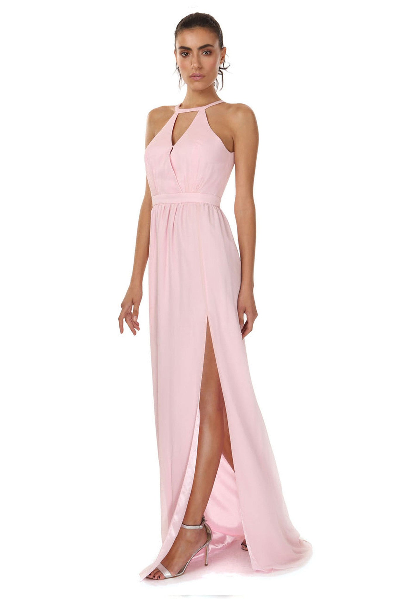 Jay Godfrey Soft Pink Grecian Gown - Side View