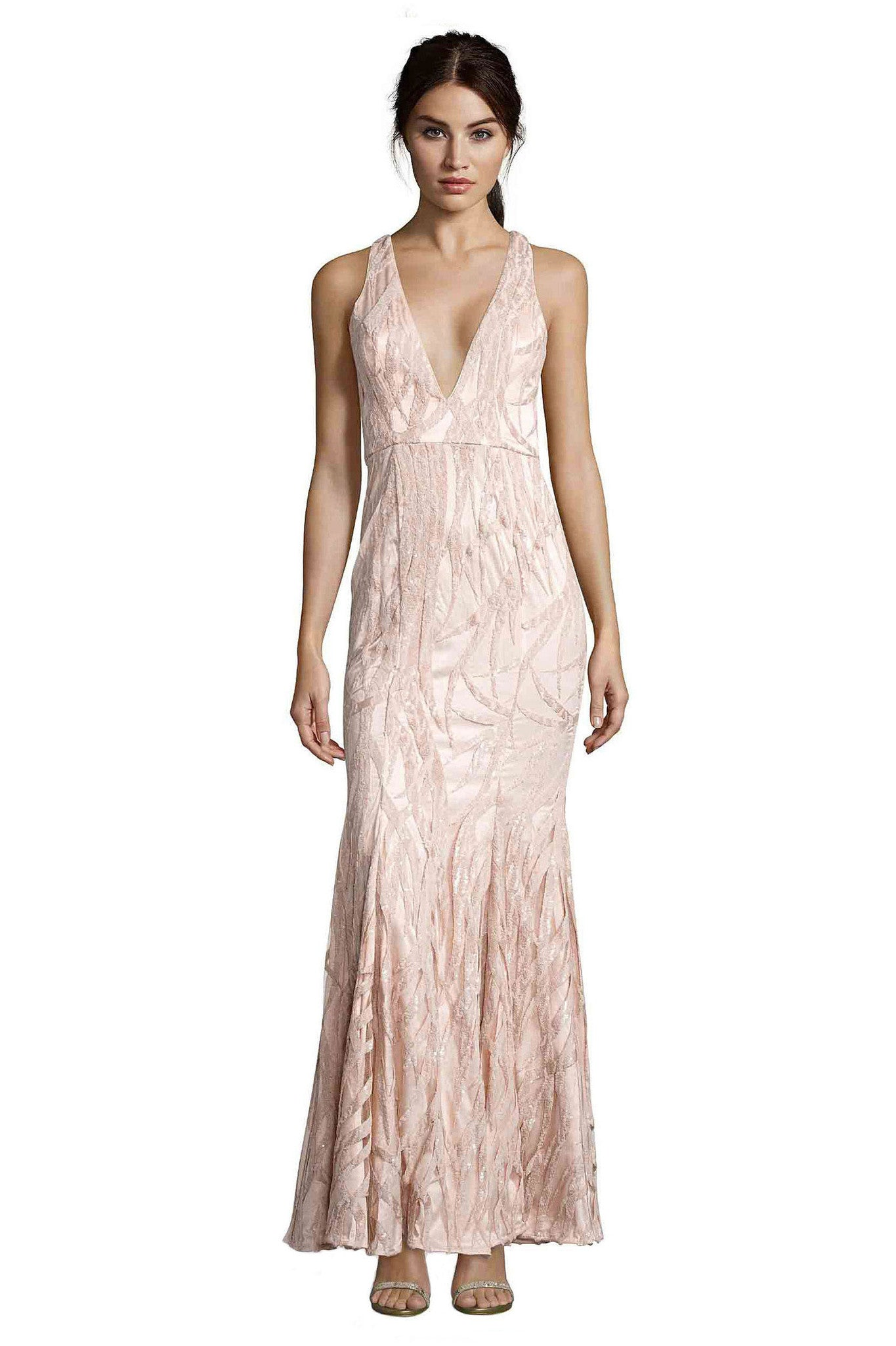 Jay Godfrey Light Pink Sequin Gown - Front View