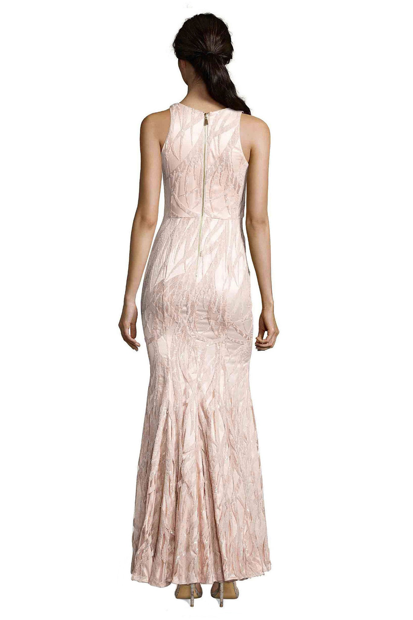 Jay Godfrey Light Pink Sequin Gown - Back View