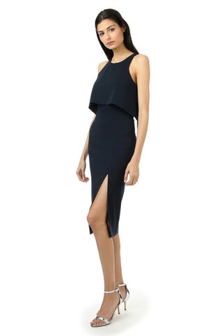 CHARLES MIDNIGHT HIGH SLIT MIDI DRESS