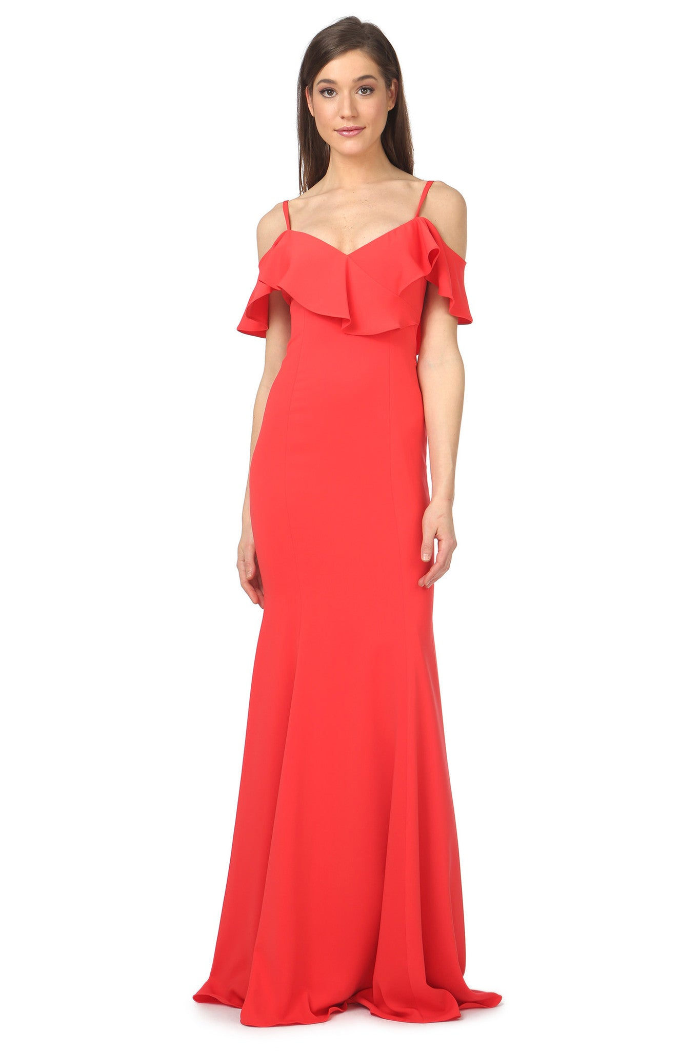 Jay Godfrey Red Ruffle Gown - Front View