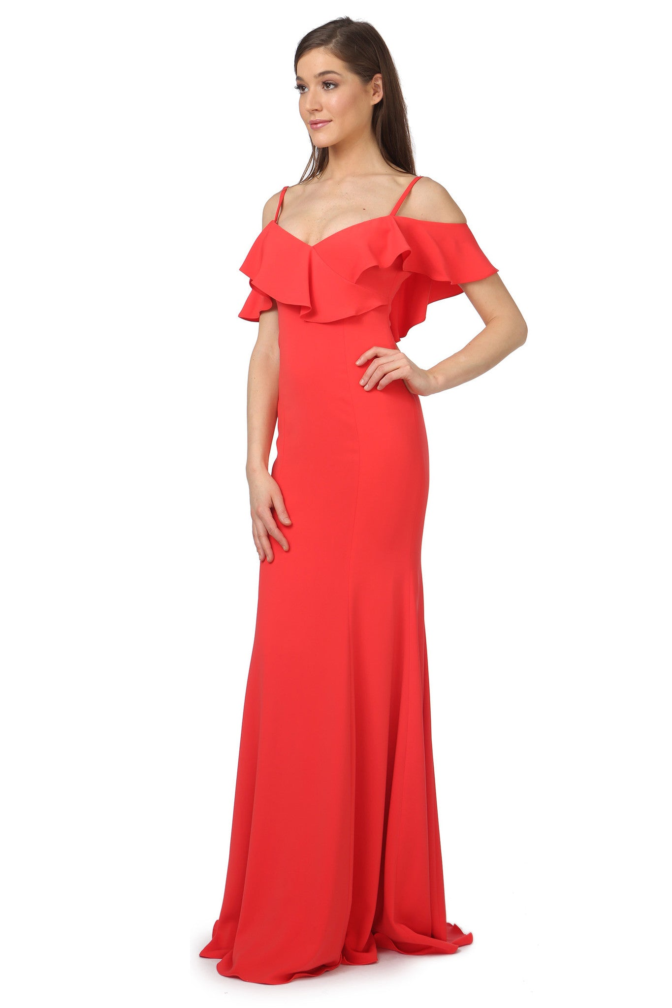 Jay Godfrey Red Ruffle Gown - Side View