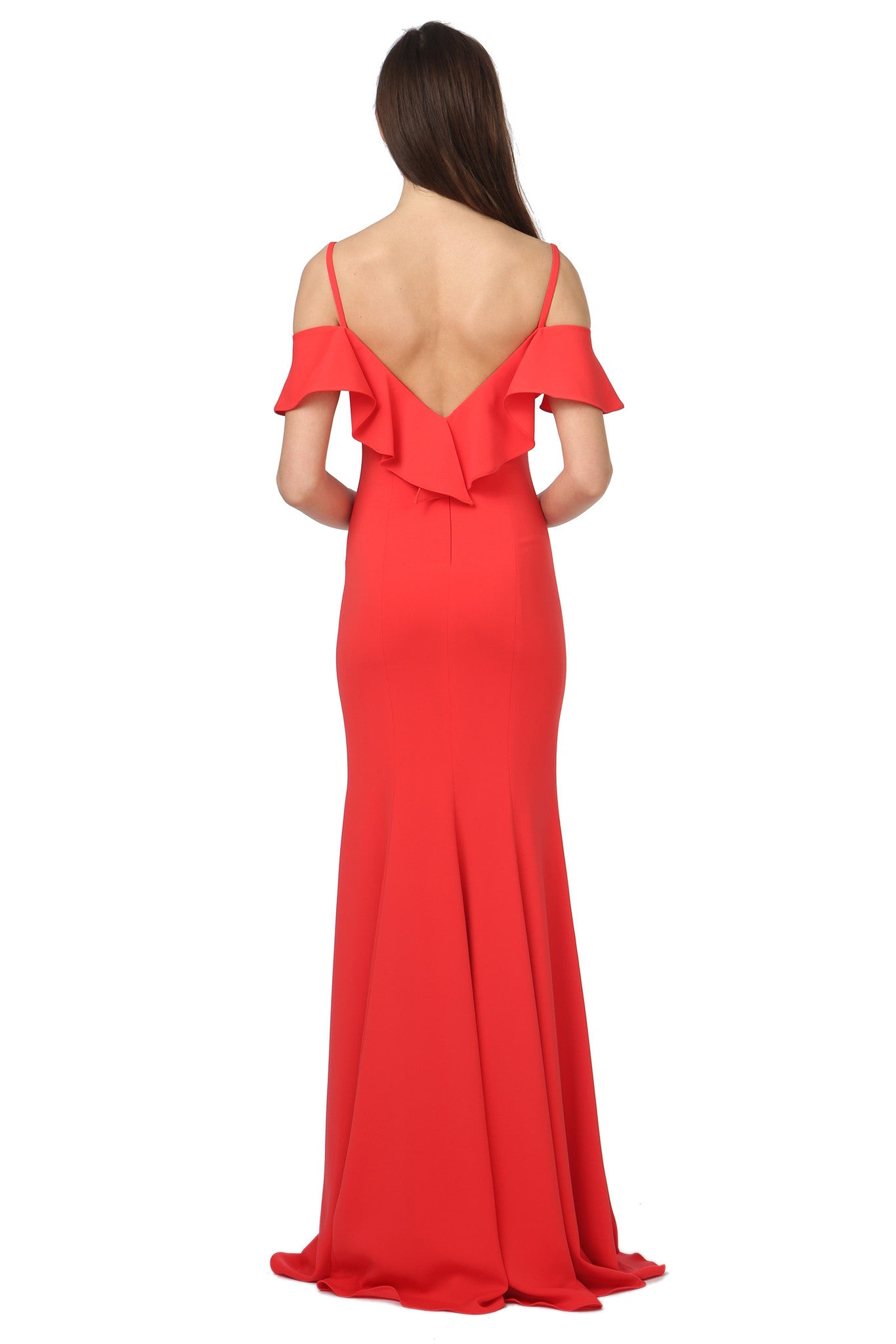Jay Godfrey Red Ruffle Gown - Back View