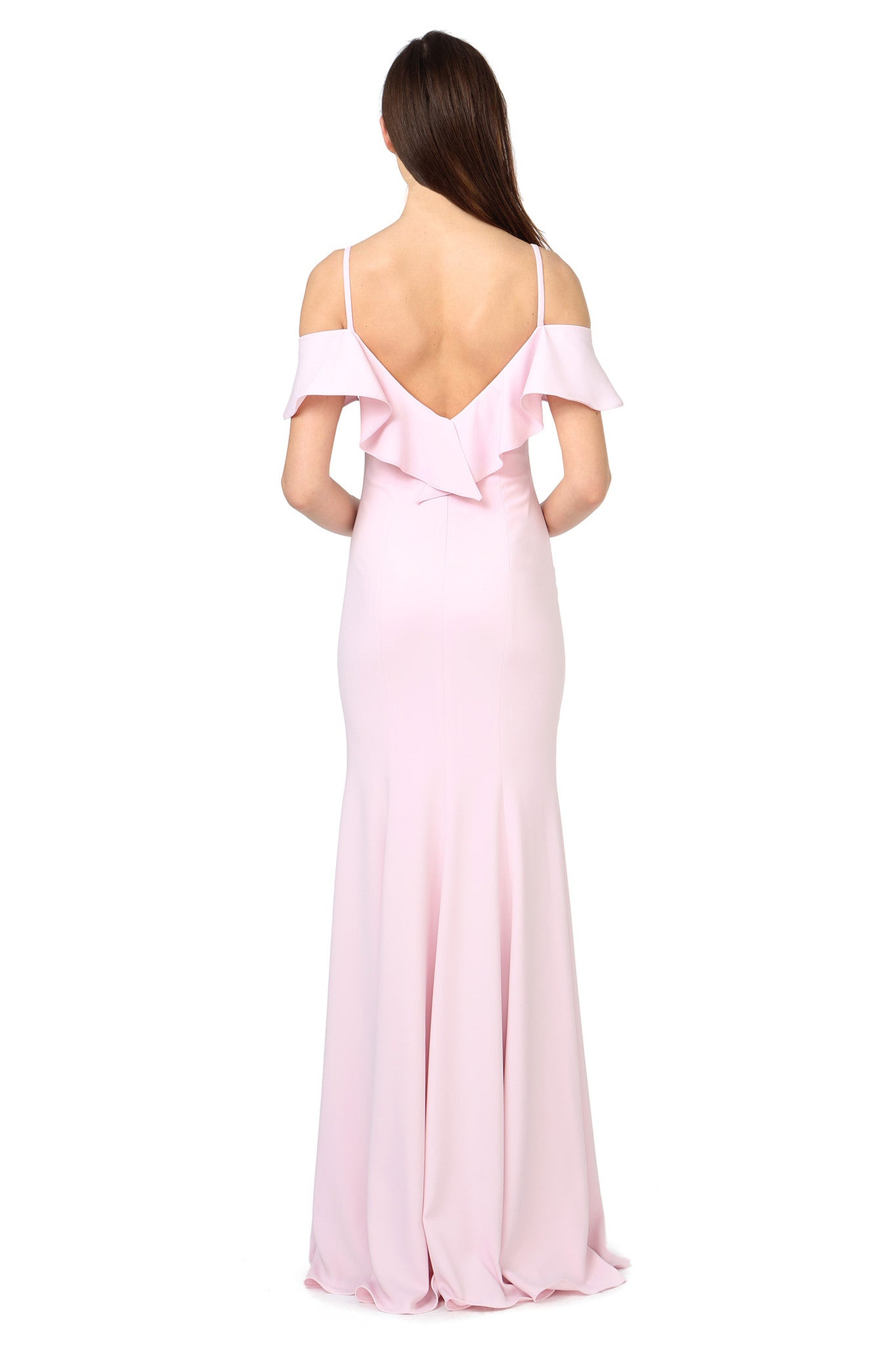 Jay Godfrey Pale Pink Ruffle Gown - Back View