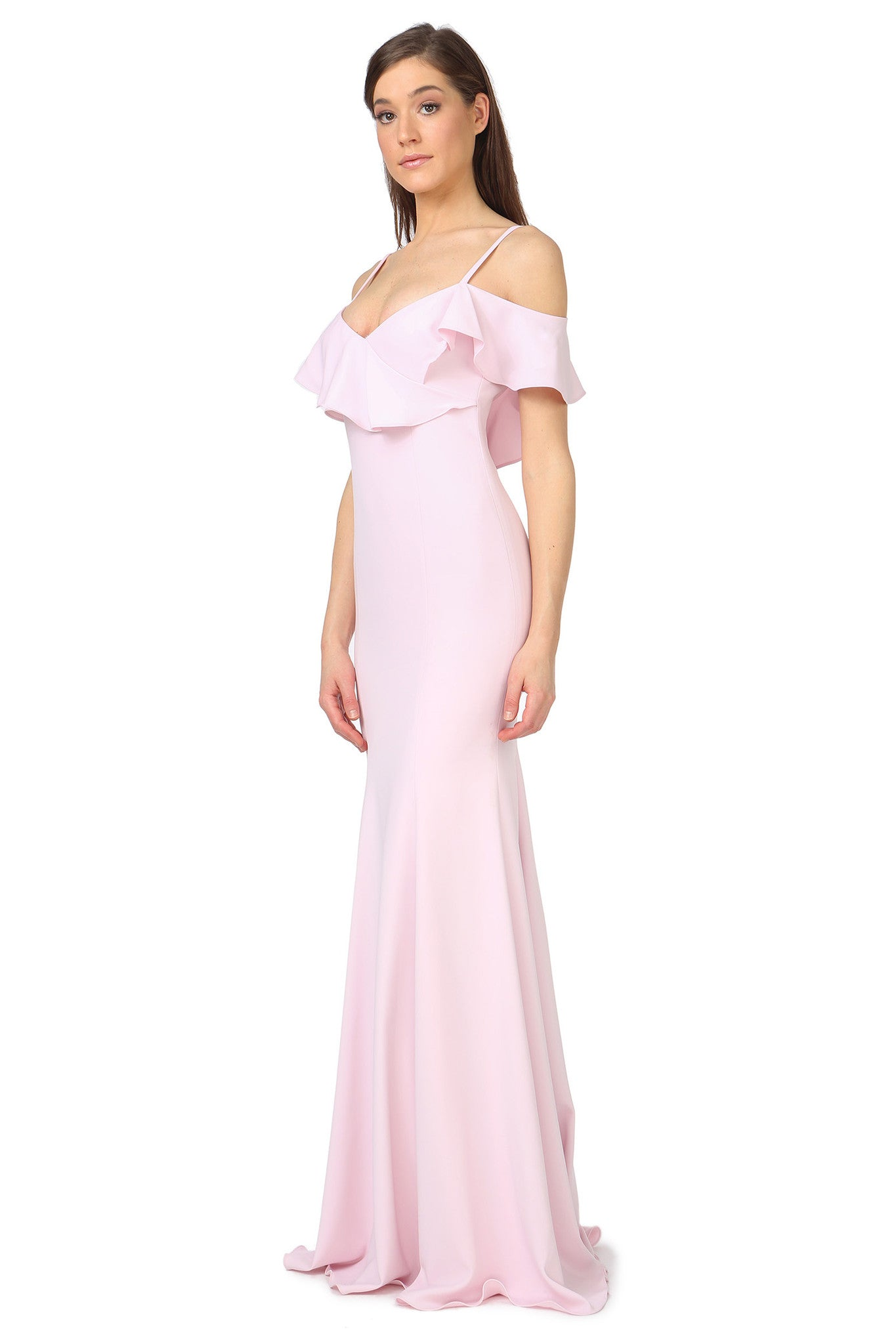 Jay Godfrey Pale Pink Ruffle Gown - Side View