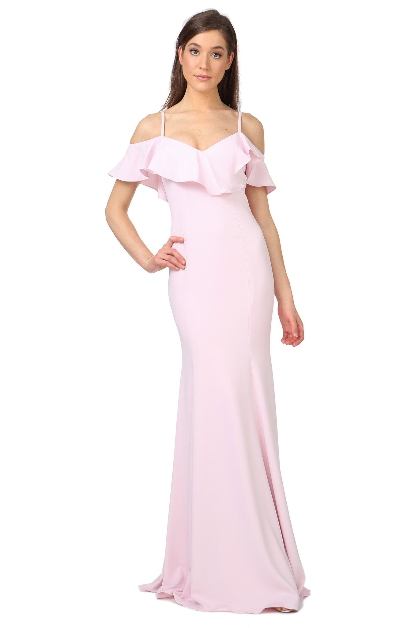 Jay Godfrey Pale Pink Ruffle Gown - Front View