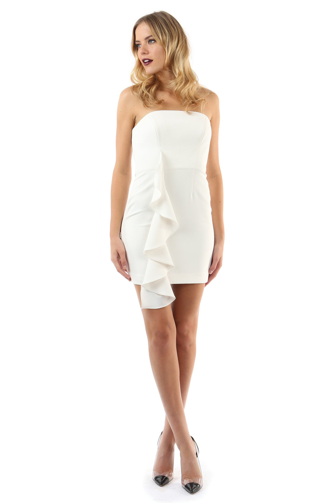 Jay Godfrey Ivory Strapless Ruffle Mini Dress - Front View