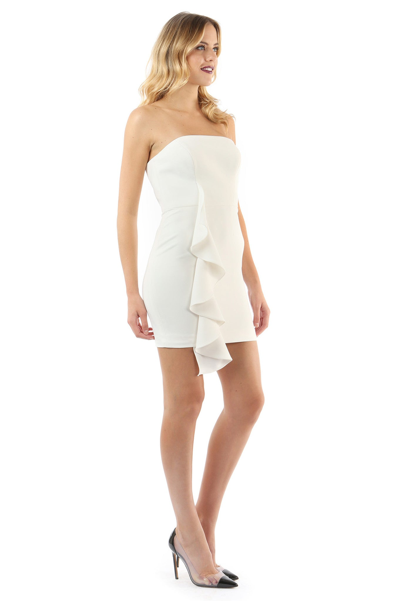 Jay Godfrey Ivory Strapless Ruffle Mini Dress - Side View