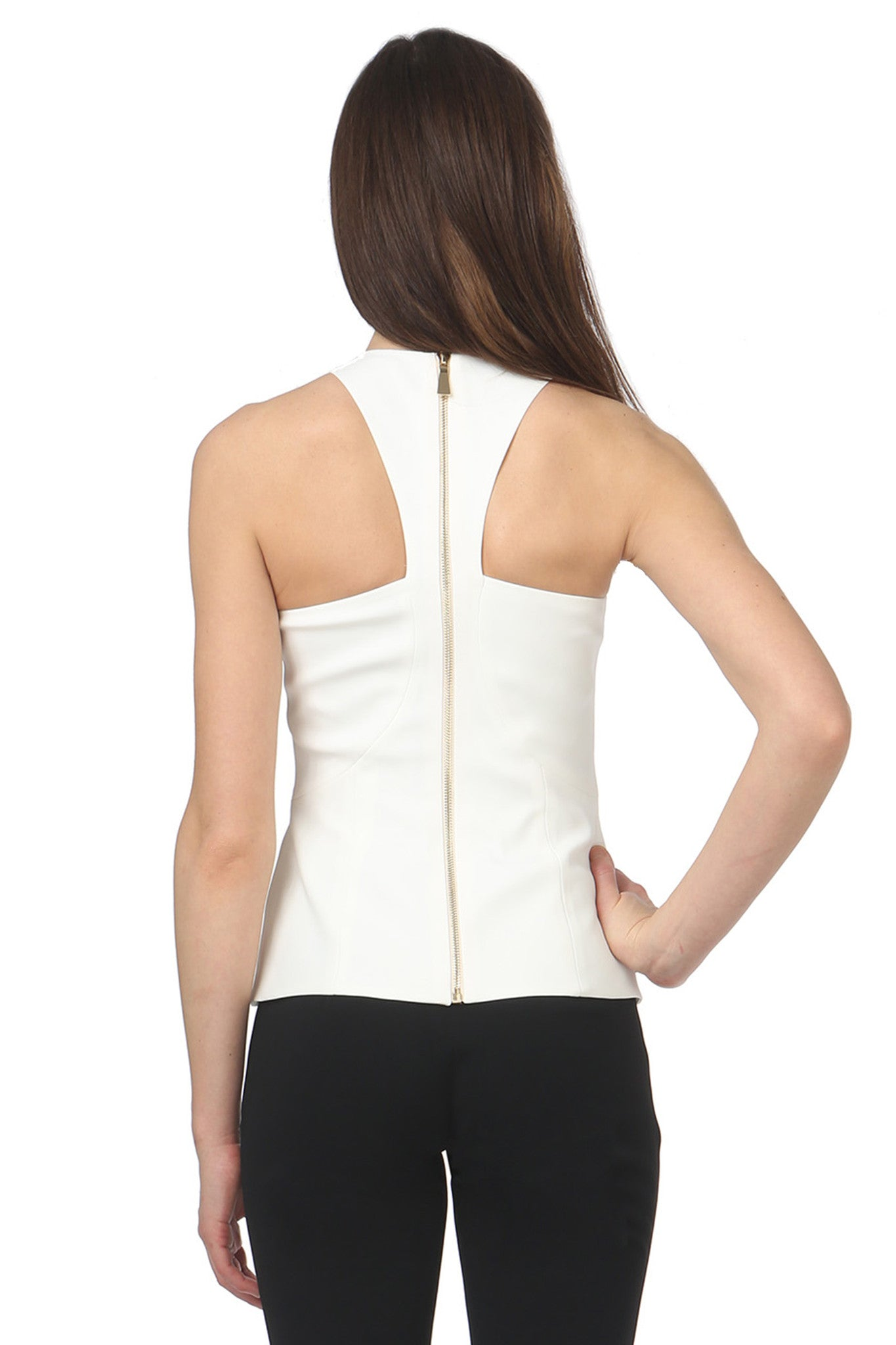 Jay Godfrey Ivory Racerneck Top - Back View