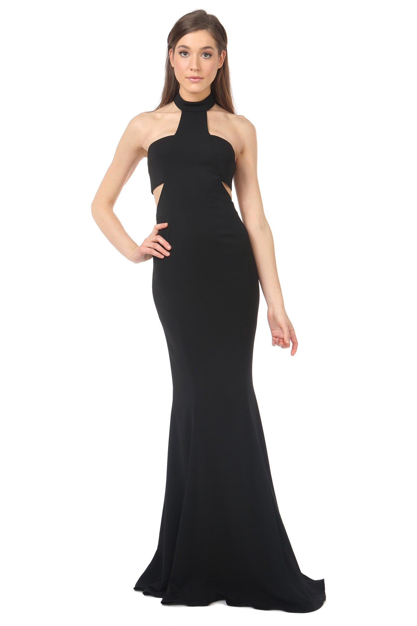 Jay Godfrey Black High-Neck Cut-Out Dress - Front View