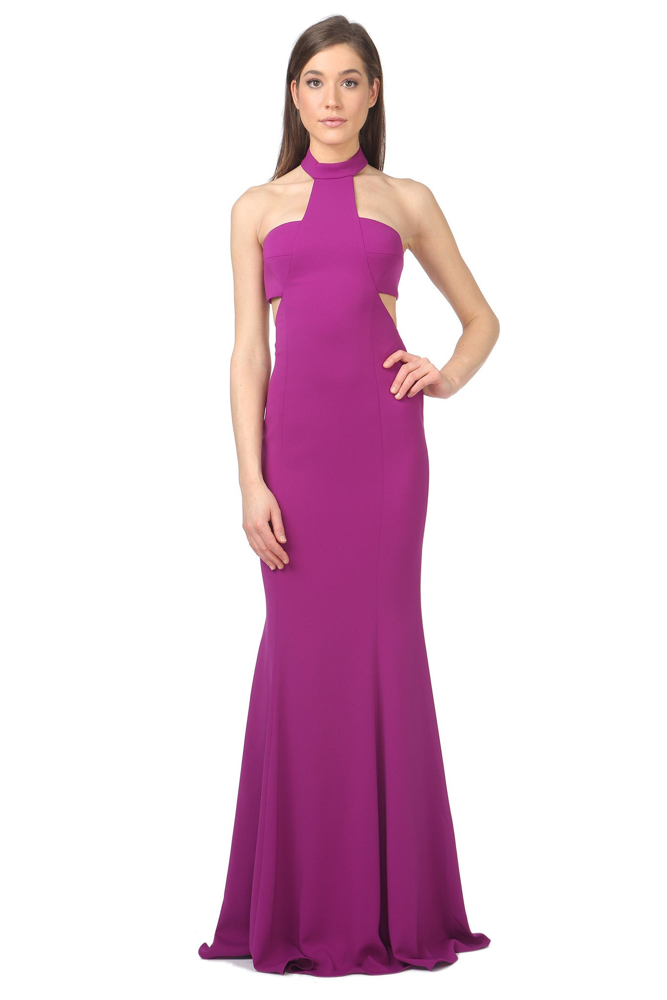 Jay Godfrey Purple High-Neck Cut-Out Dress - Front View