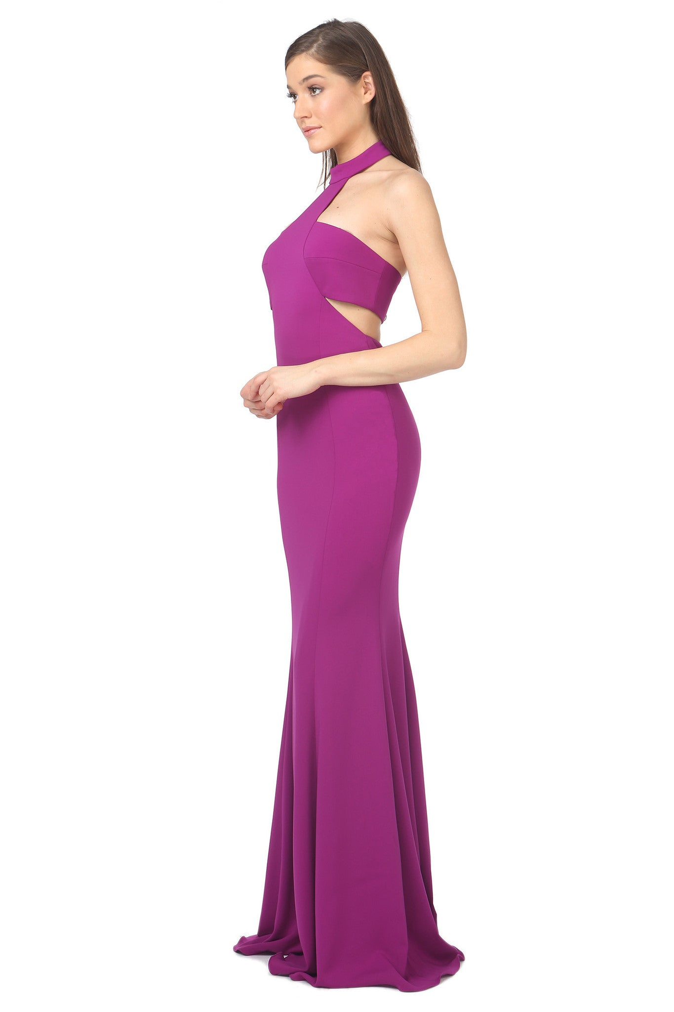 Jay Godfrey Purple High-Neck Cut-Out Dress - Side View