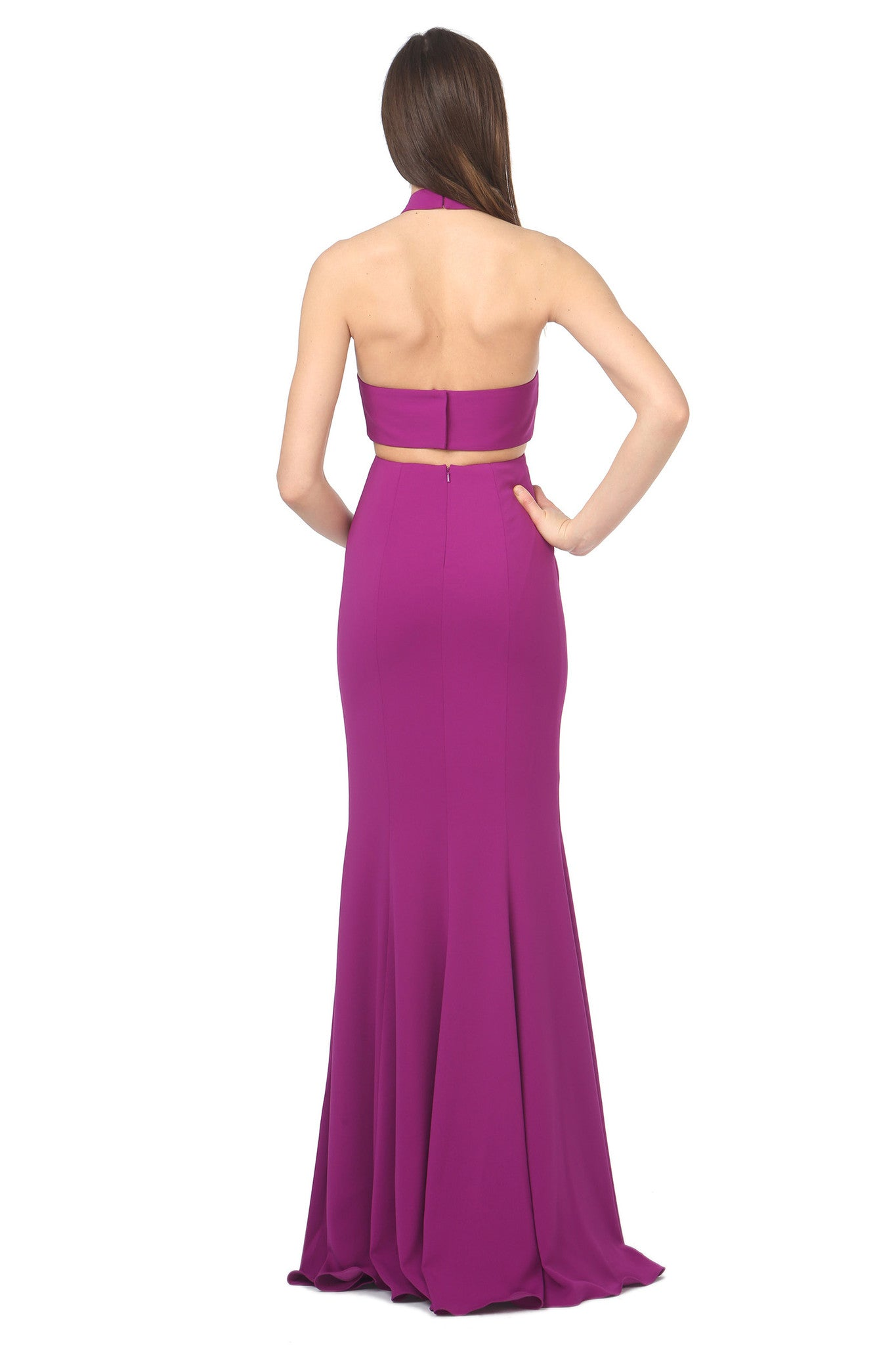Jay Godfrey Purple High-Neck Cut-Out Dress - Back View