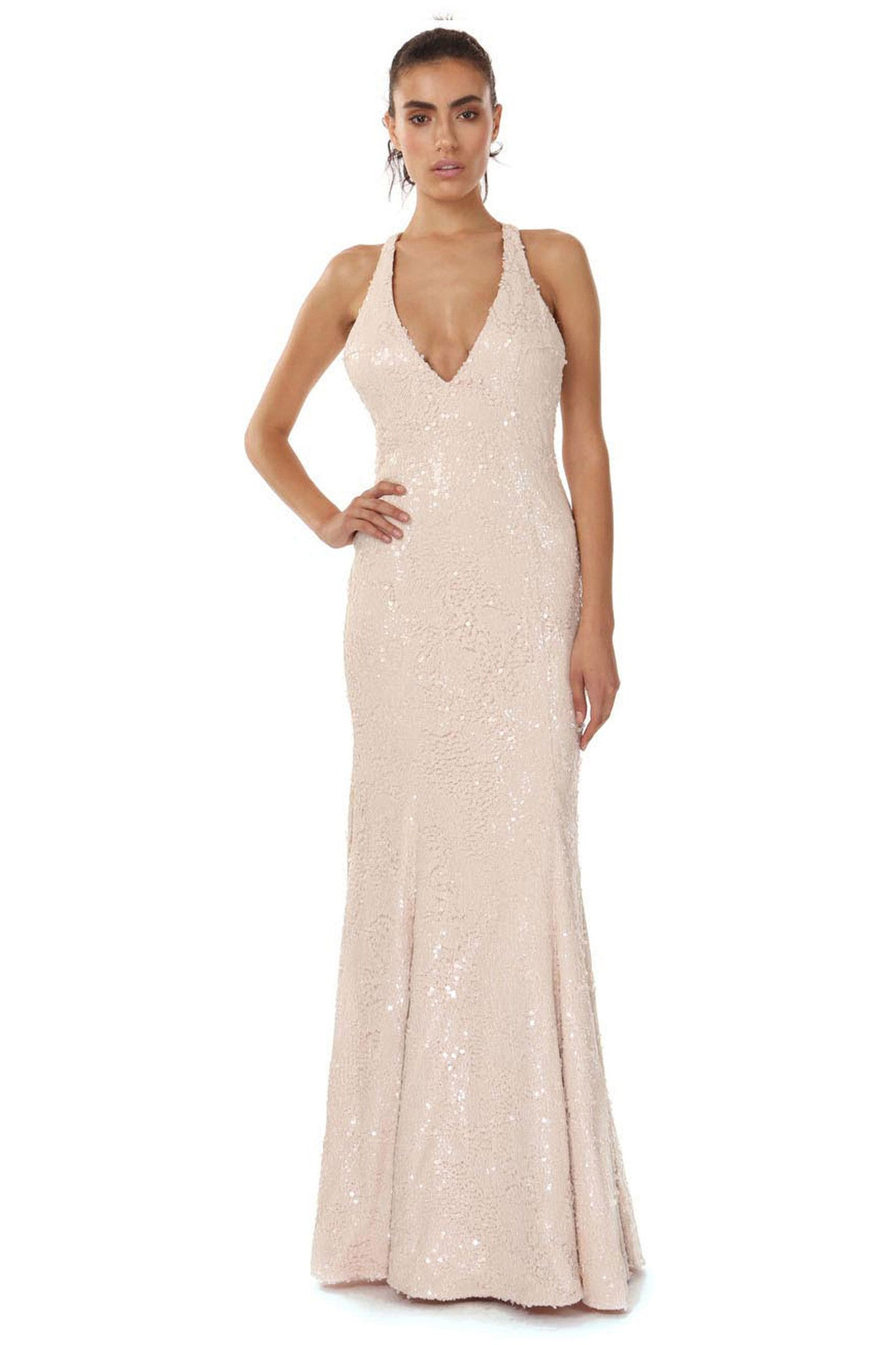 Jay Godfrey Nude Sequin Deep-V Gown - Front View