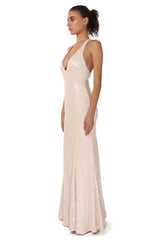 Jay Godfrey Nude Sequin Deep-V Gown - Side View