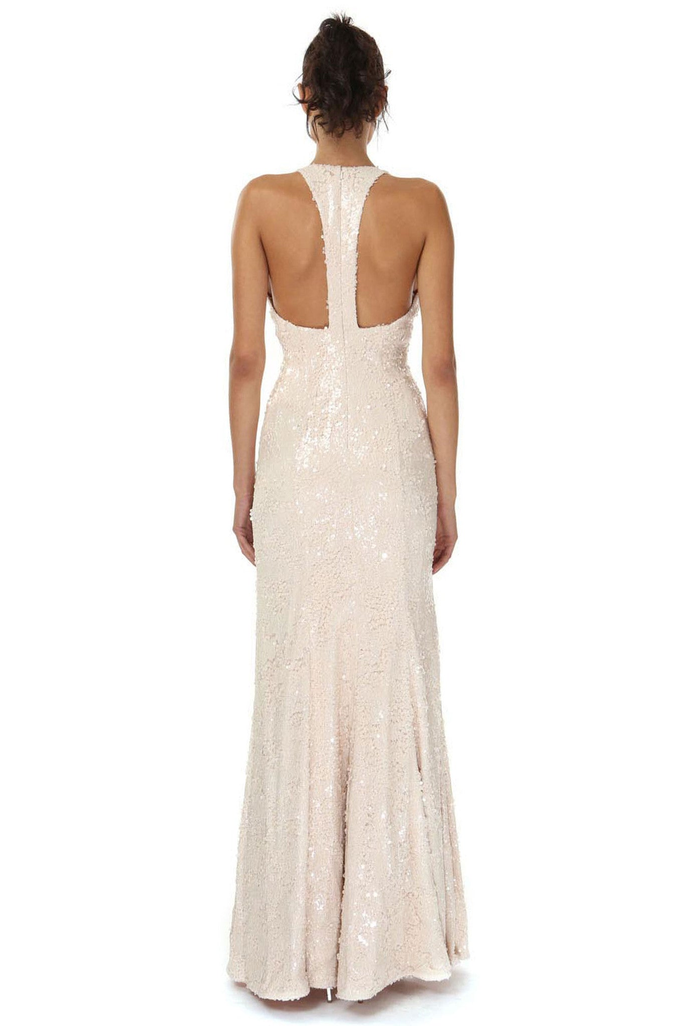 Jay Godfrey Nude Sequin Deep-V Gown - Back View