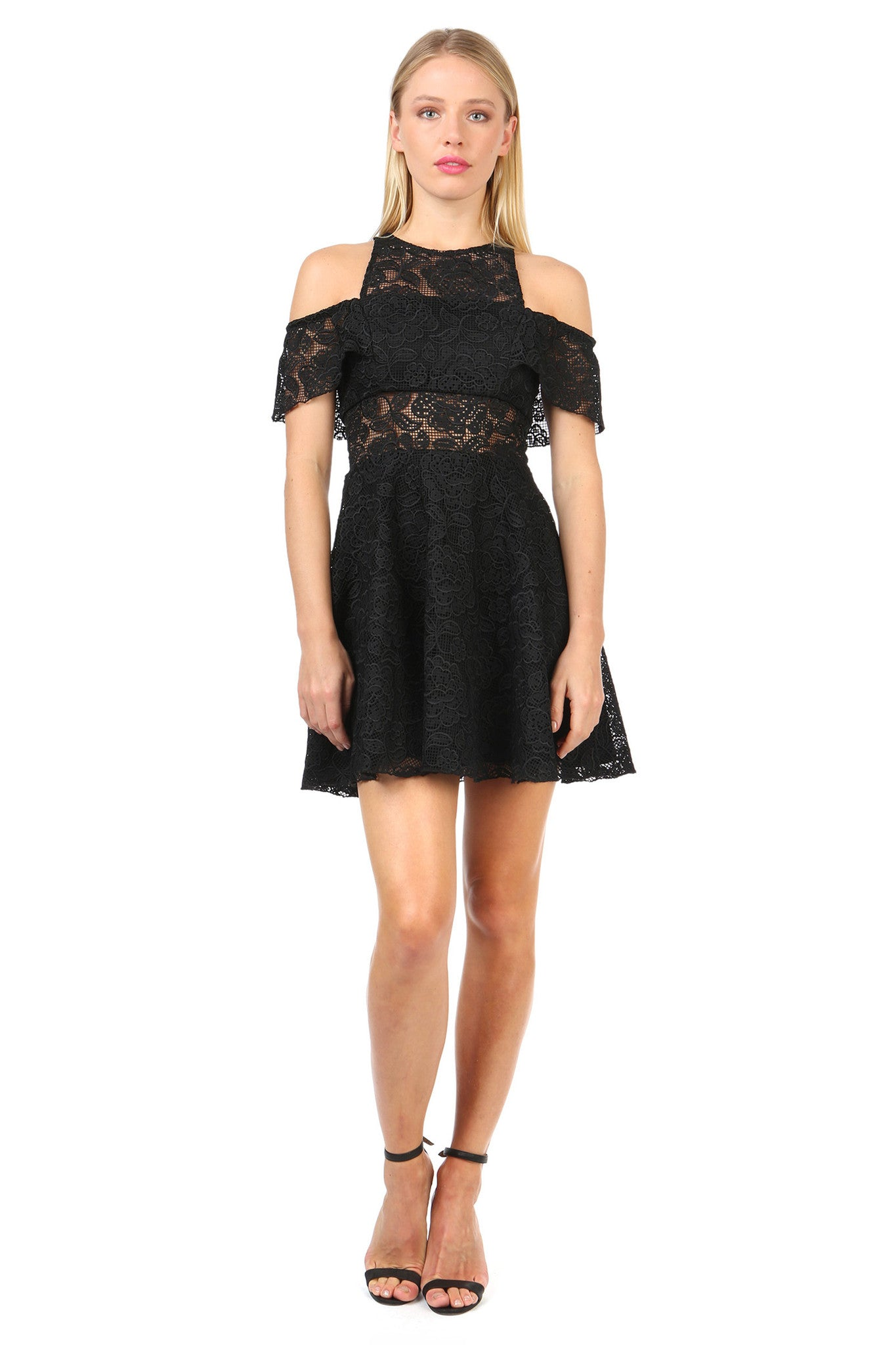 Jay Godfrey Black Lace Cold Shoulder Dress - Front View