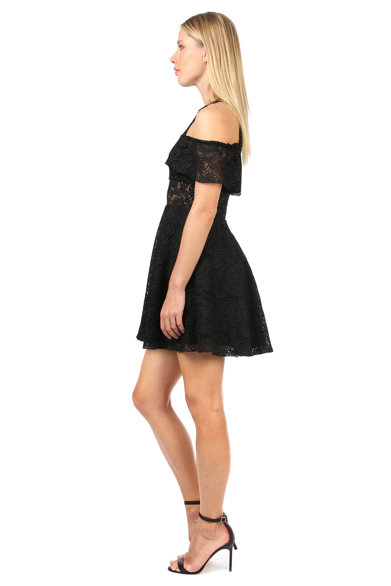 Jay Godfrey Black Lace Cold Shoulder Dress - Side View