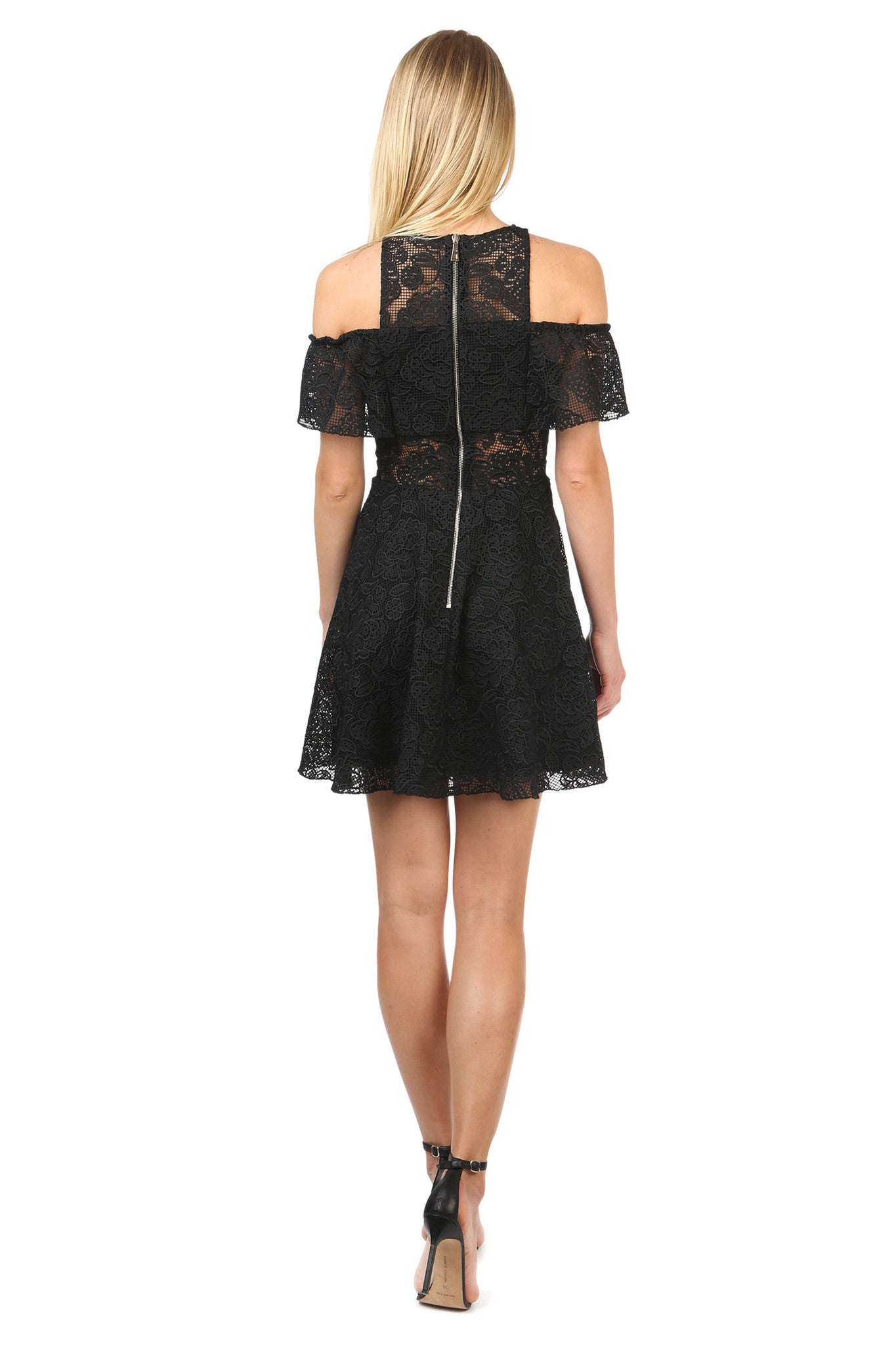 Jay Godfrey Black Lace Cold Shoulder Dress - Back View