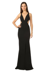Jay Godfrey Deep-V Gown in Black - Front View