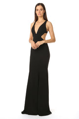 Jay Godfrey Deep-V Gown in Black - Side View