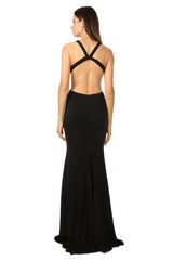Jay Godfrey Deep-V Gown in Black - Back View